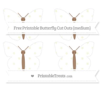 Free Beige Star Pattern Medium Butterfly Cut Outs