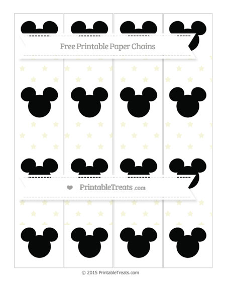 Free Beige Star Pattern Mickey Mouse Paper Chains