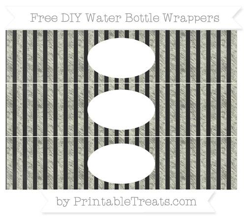 Free Beige Striped Chalk Style DIY Water Bottle Wrappers