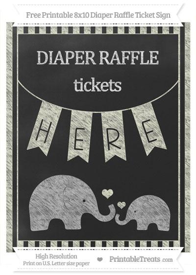 Free Beige Striped Chalk Style Elephant 8x10 Diaper Raffle Ticket Sign