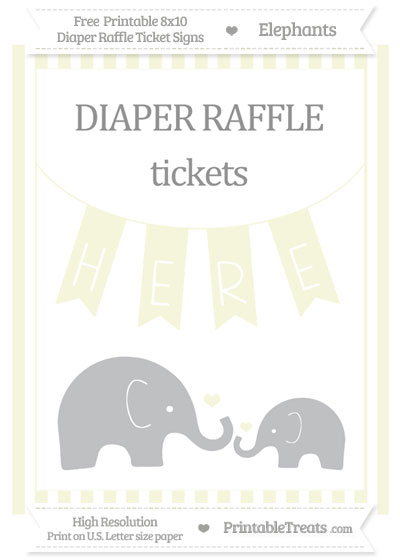 Free Beige Striped Elephant 8x10 Diaper Raffle Ticket Sign