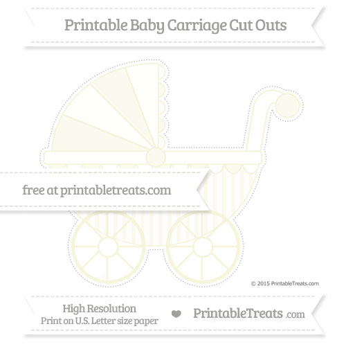 Free Beige Striped Extra Large Baby Carriage Cut Outs
