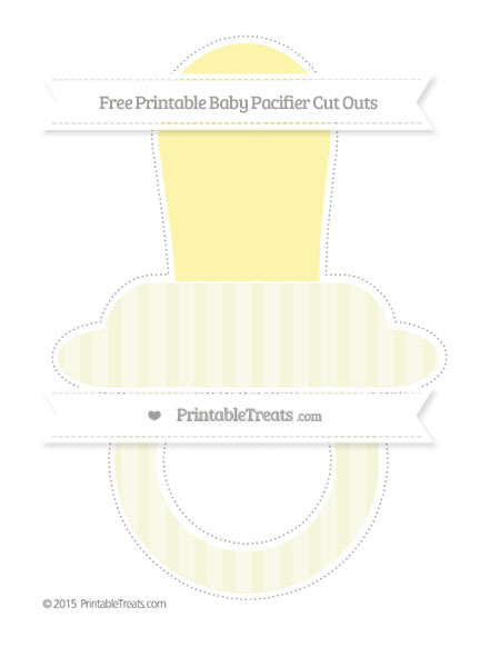 Free Beige Striped Extra Large Baby Pacifier Cut Outs