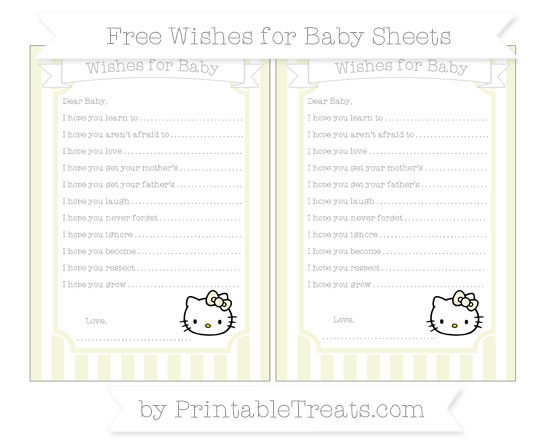 Free Beige Striped Hello Kitty Wishes for Baby Sheets