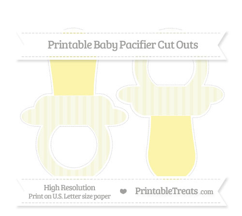Free Beige Striped Large Baby Pacifier Cut Outs