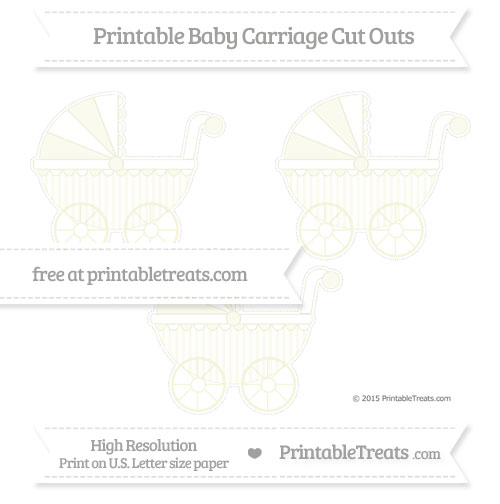Free Beige Striped Medium Baby Carriage Cut Outs