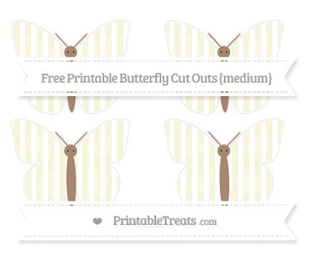 Free Beige Striped Medium Butterfly Cut Outs