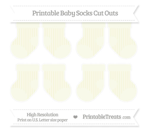 Free Beige Striped Small Baby Socks Cut Outs