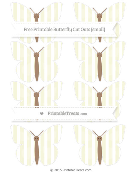 Free Beige Striped Small Butterfly Cut Outs