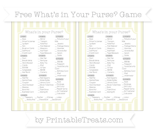 Free Beige Striped What's in Your Purse Baby Shower Game