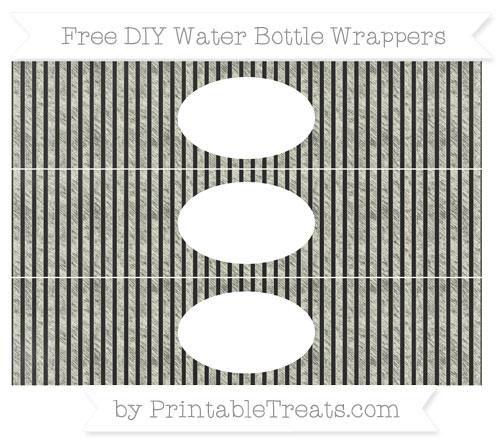 Free Beige Thin Striped Pattern Chalk Style DIY Water Bottle Wrappers
