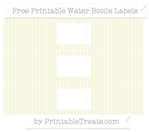 Free Beige Thin Striped Pattern Water Bottle Labels