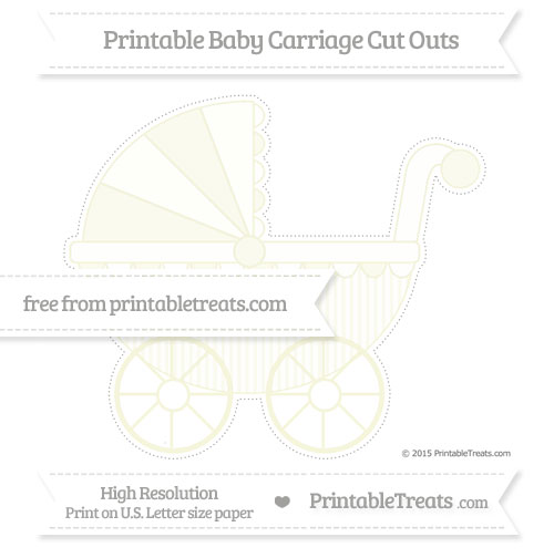 Free Beige Thin Striped Pattern Extra Large Baby Carriage Cut Outs