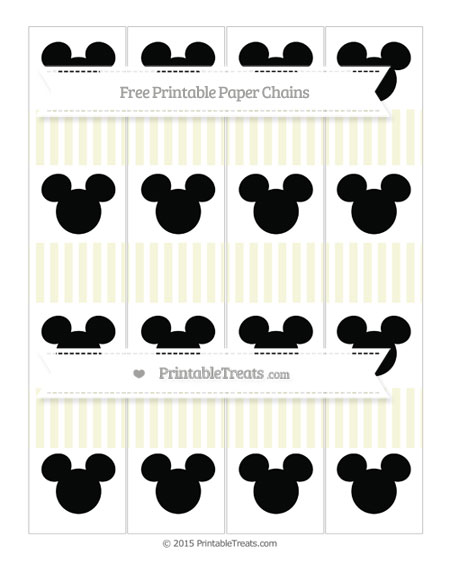 Free Beige Thin Striped Pattern Mickey Mouse Paper Chains