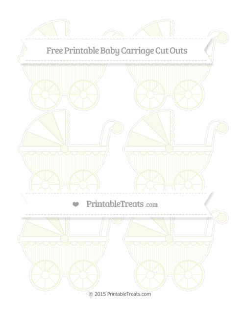 Free Beige Thin Striped Pattern Small Baby Carriage Cut Outs
