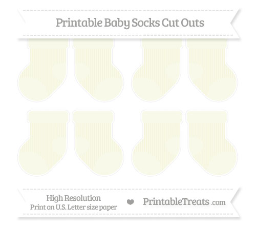Free Beige Thin Striped Pattern Small Baby Socks Cut Outs