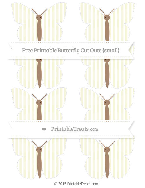 Free Beige Thin Striped Pattern Small Butterfly Cut Outs