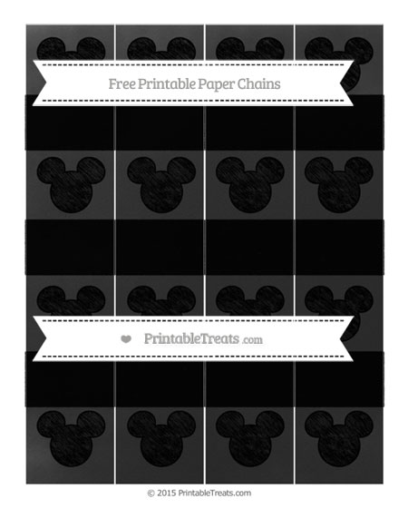 Free Black Chalk Style Mickey Mouse Paper Chains