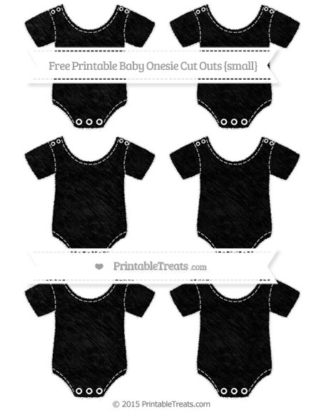 Free Black Chalk Style Small Baby Onesie Cut Outs