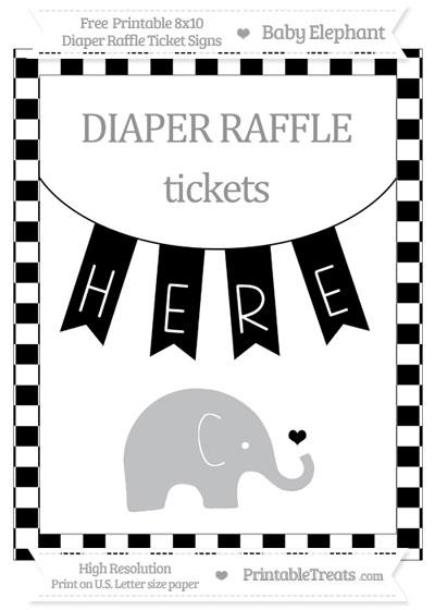 Free Black Checker Pattern Baby Elephant 8x10 Diaper Raffle Ticket Sign