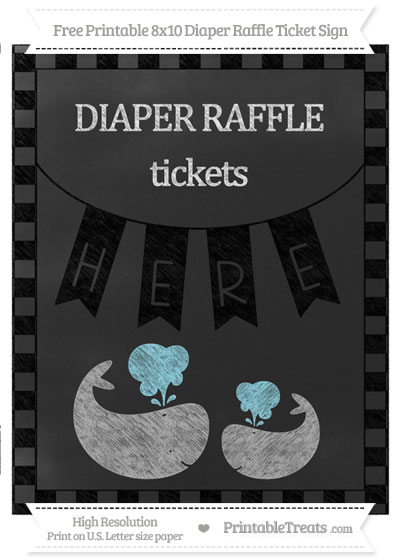 Free Black Checker Pattern Chalk Style Baby Whale 8x10 Diaper Raffle Ticket Sign