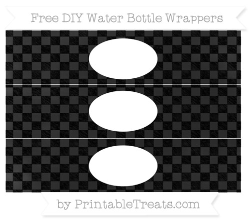 Free Black Checker Pattern Chalk Style DIY Water Bottle Wrappers
