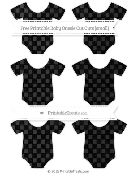 Free Black Checker Pattern Chalk Style Small Baby Onesie Cut Outs
