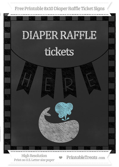 Free Black Checker Pattern Chalk Style Whale 8x10 Diaper Raffle Ticket Sign