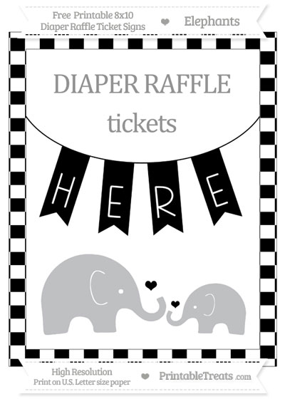 Free Black Checker Pattern Elephant 8x10 Diaper Raffle Ticket Sign