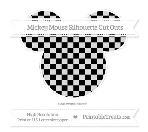 Free Black Checker Pattern Extra Large Mickey Mouse Silhouette Cut Outs