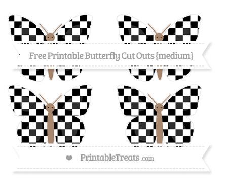 Free Black Checker Pattern Medium Butterfly Cut Outs