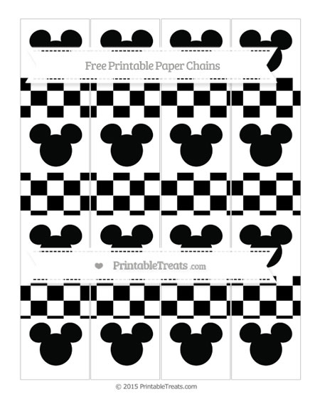 Free Black Checker Pattern Mickey Mouse Paper Chains