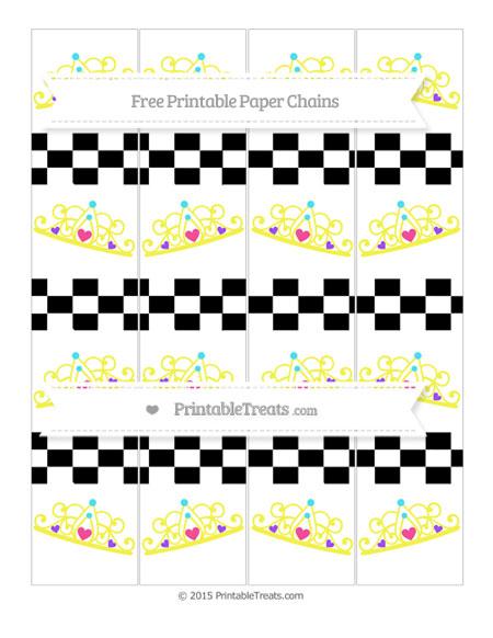 Free Black Checker Pattern Princess Tiara Paper Chains