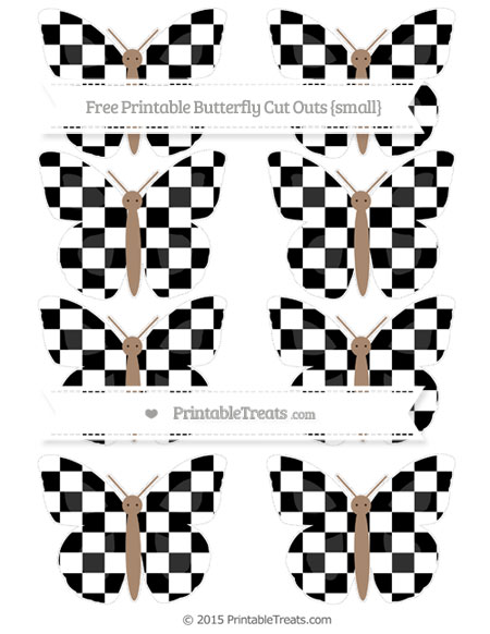 Free Black Checker Pattern Small Butterfly Cut Outs