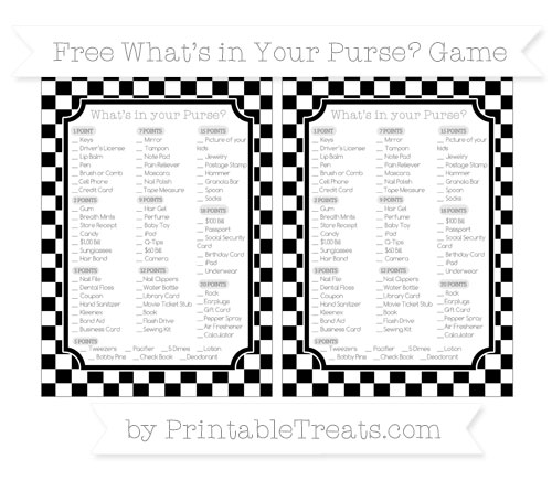 Free Black Checker Pattern What's in Your Purse Baby Shower Game