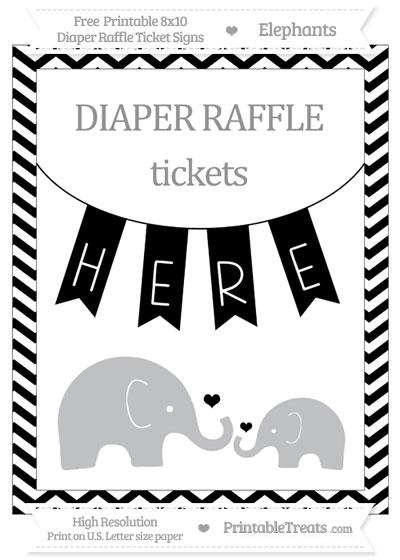 Free Black Chevron Elephant 8x10 Diaper Raffle Ticket Sign