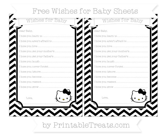 Free Black Chevron Hello Kitty Wishes for Baby Sheets