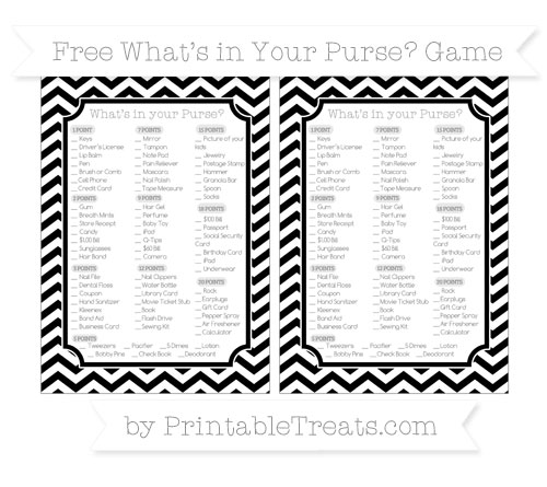 Free Black Chevron What's in Your Purse Baby Shower Game