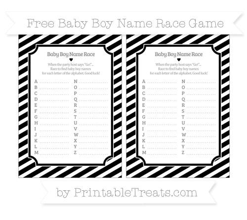 Free Black Diagonal Striped Baby Boy Name Race Game