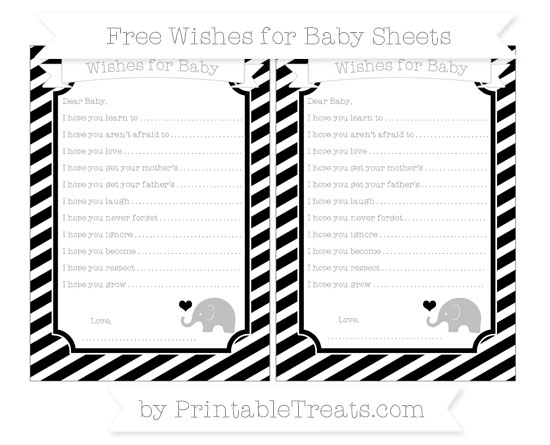 Free Black Diagonal Striped Baby Elephant Wishes for Baby Sheets