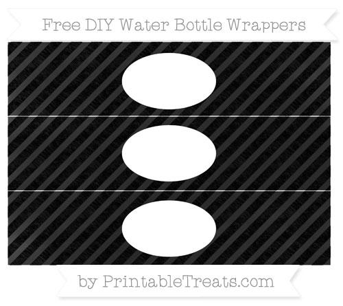 Free Black Diagonal Striped Chalk Style DIY Water Bottle Wrappers