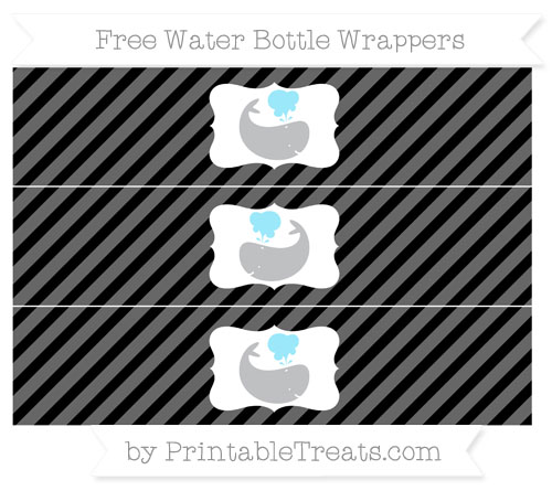 Free Black Diagonal Striped Whale Water Bottle Wrappers