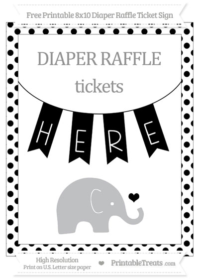 Free Black Dotted Baby Elephant 8x10 Diaper Raffle Ticket Sign