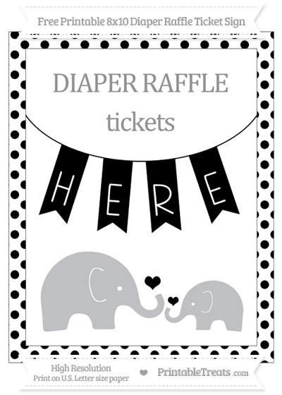 Free Black Dotted Elephant 8x10 Diaper Raffle Ticket Sign