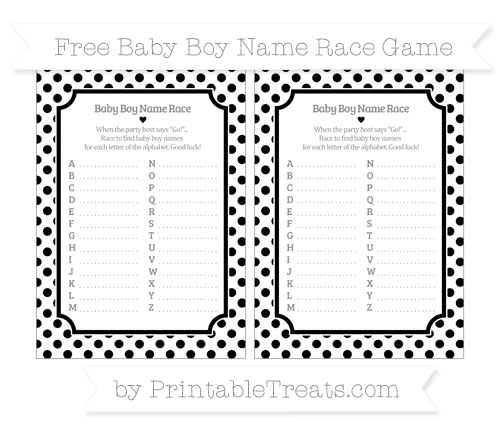 Free Black Dotted Pattern Baby Boy Name Race Game
