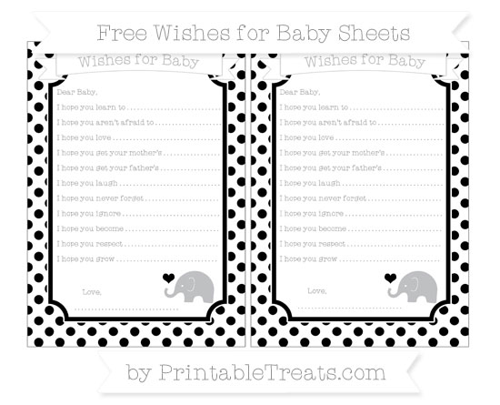 Free Black Dotted Pattern Baby Elephant Wishes for Baby Sheets