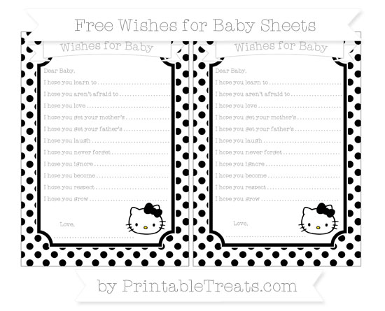 Free Black Dotted Pattern Hello Kitty Wishes for Baby Sheets