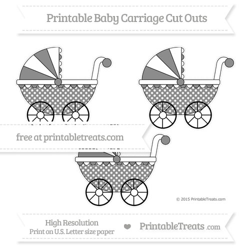 Free Black Dotted Pattern Medium Baby Carriage Cut Outs
