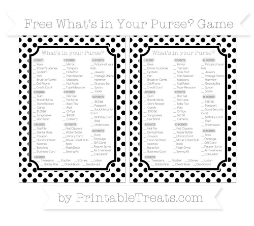 Free Black Dotted Pattern What's in Your Purse Baby Shower Game