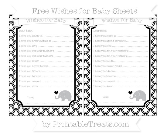 Free Black Fish Scale Pattern Baby Elephant Wishes for Baby Sheets